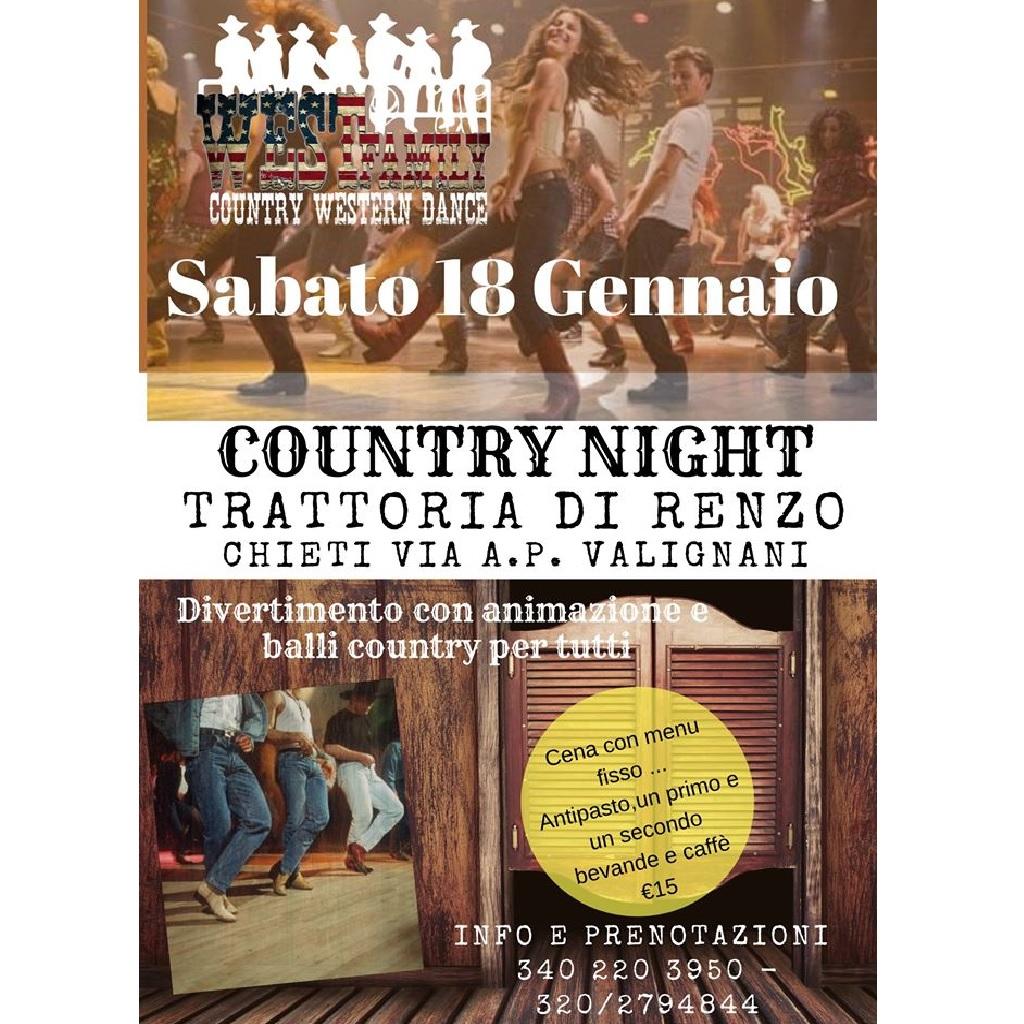 Country night alla Trattoria di Renzo la varrell a Chieti locandina