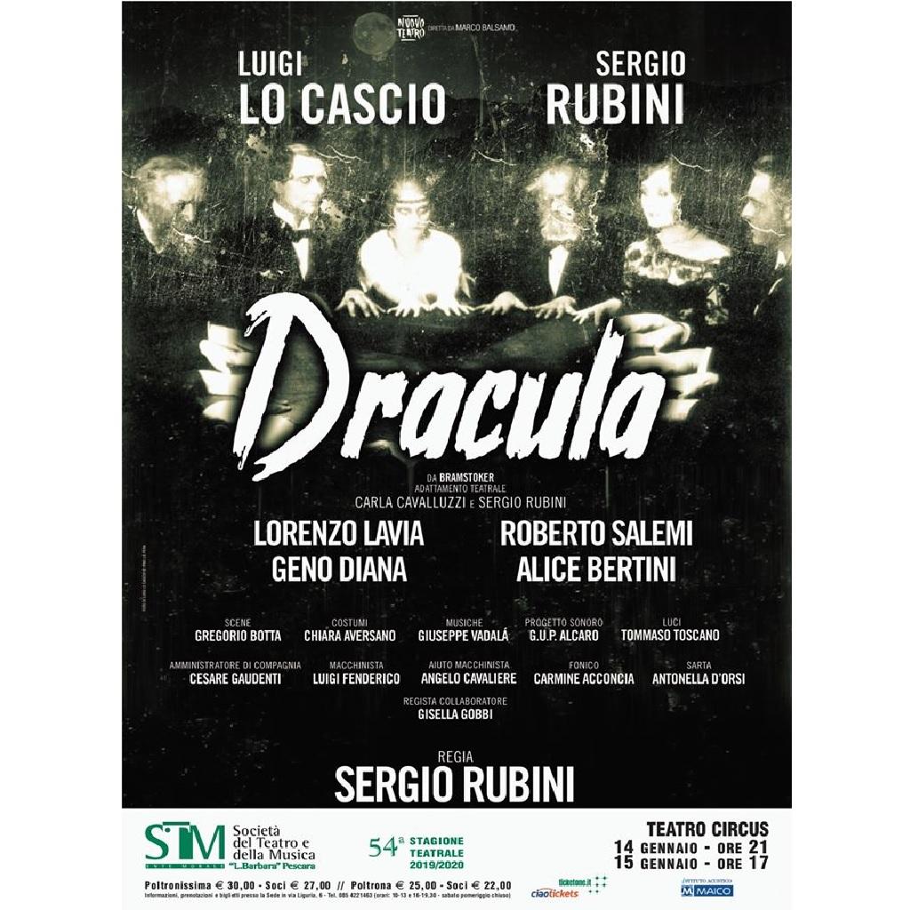 Dracula da Bram Stoker con Luigi Lo Cascio e Sergio Rubini al Teatro Circus a Pescara locandina