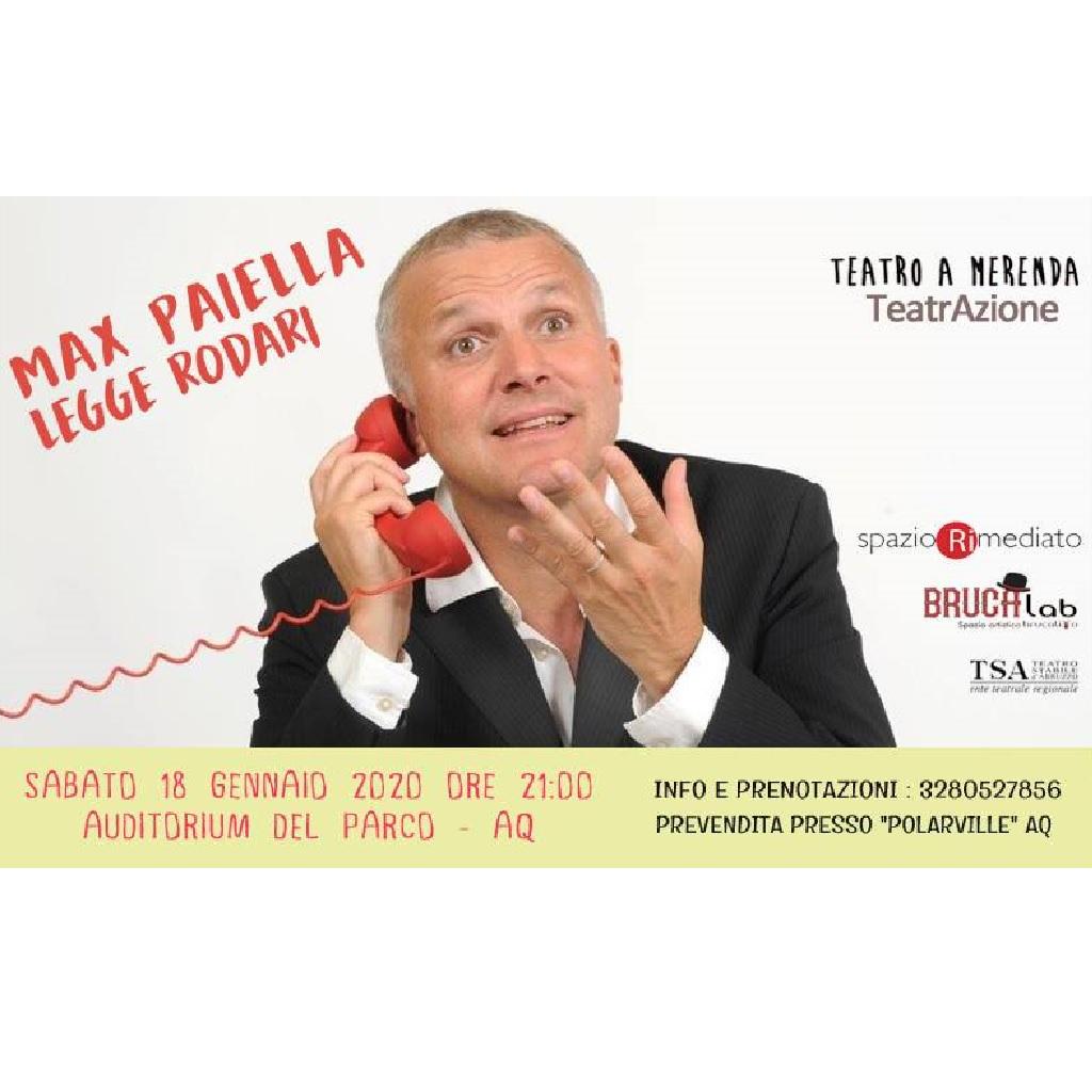 Max Paiella legge Rodari all'Auditorium Del Parco (Renzo Piano) a L'Aquila foto