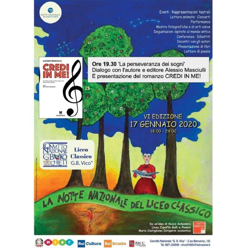 """Presentazione del libro """"Credi in me"""" di Alessio Masciulli al Liceo Classico G.B.Vico a Chieti locandina"""