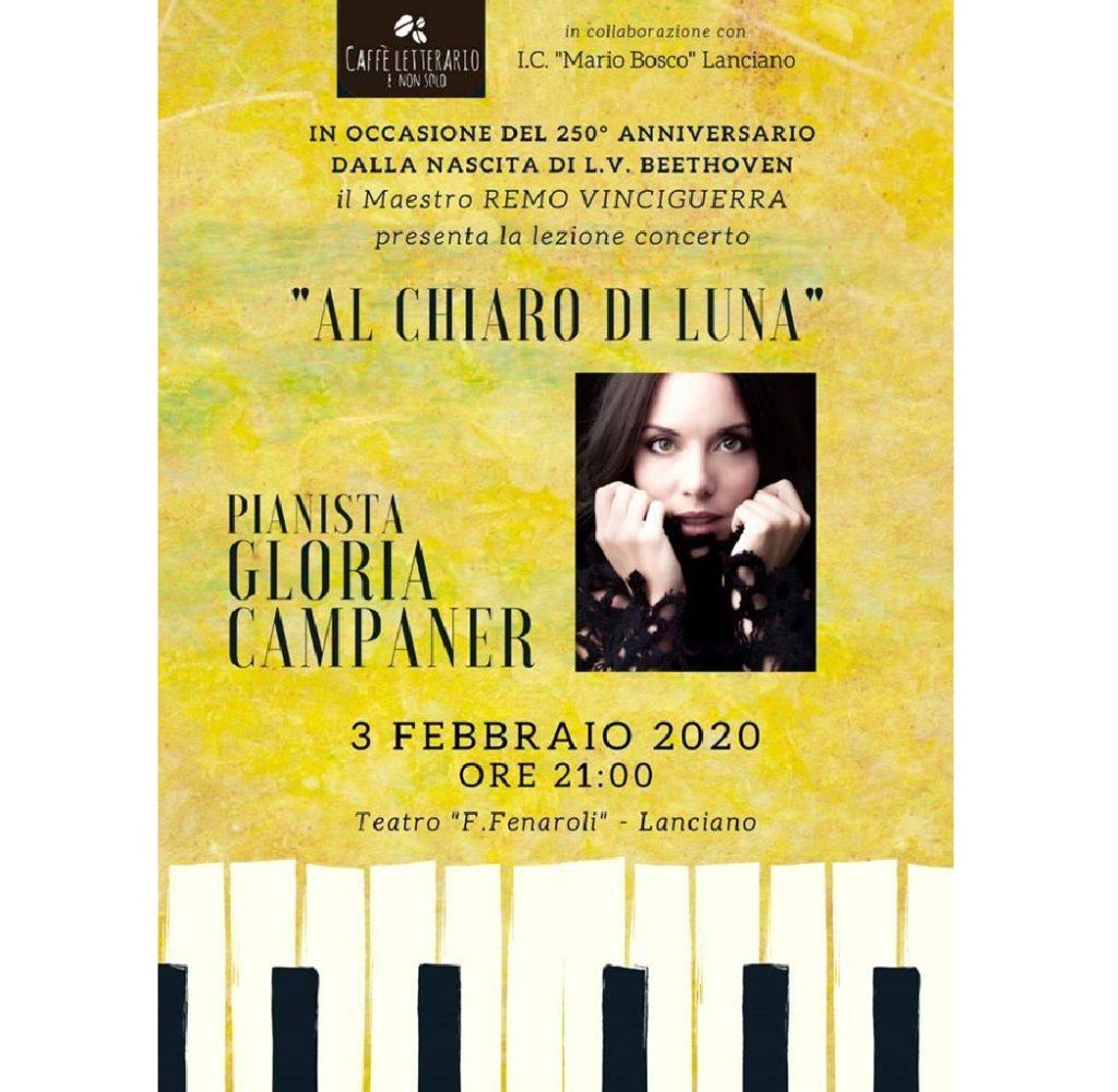 Al chiaro di luna lezione concerto per Beethoven al Teatro Comunale Fedele Fenaroli a Lanciano (Ch) locandina