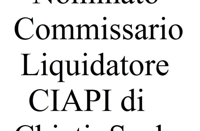 Nominato Commissario Liquidatore CIAPI di Chieti Scalo