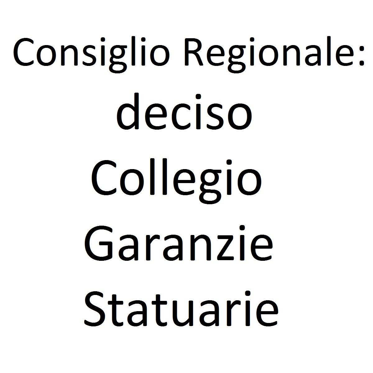 Consiglio Regionale deciso Collegio Garanzie Statuarie foto