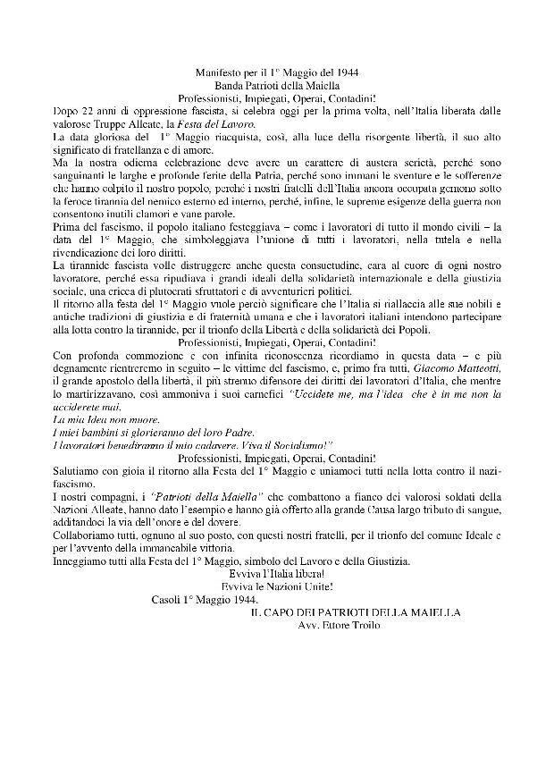 Manifesto per il Primo Maggio foto