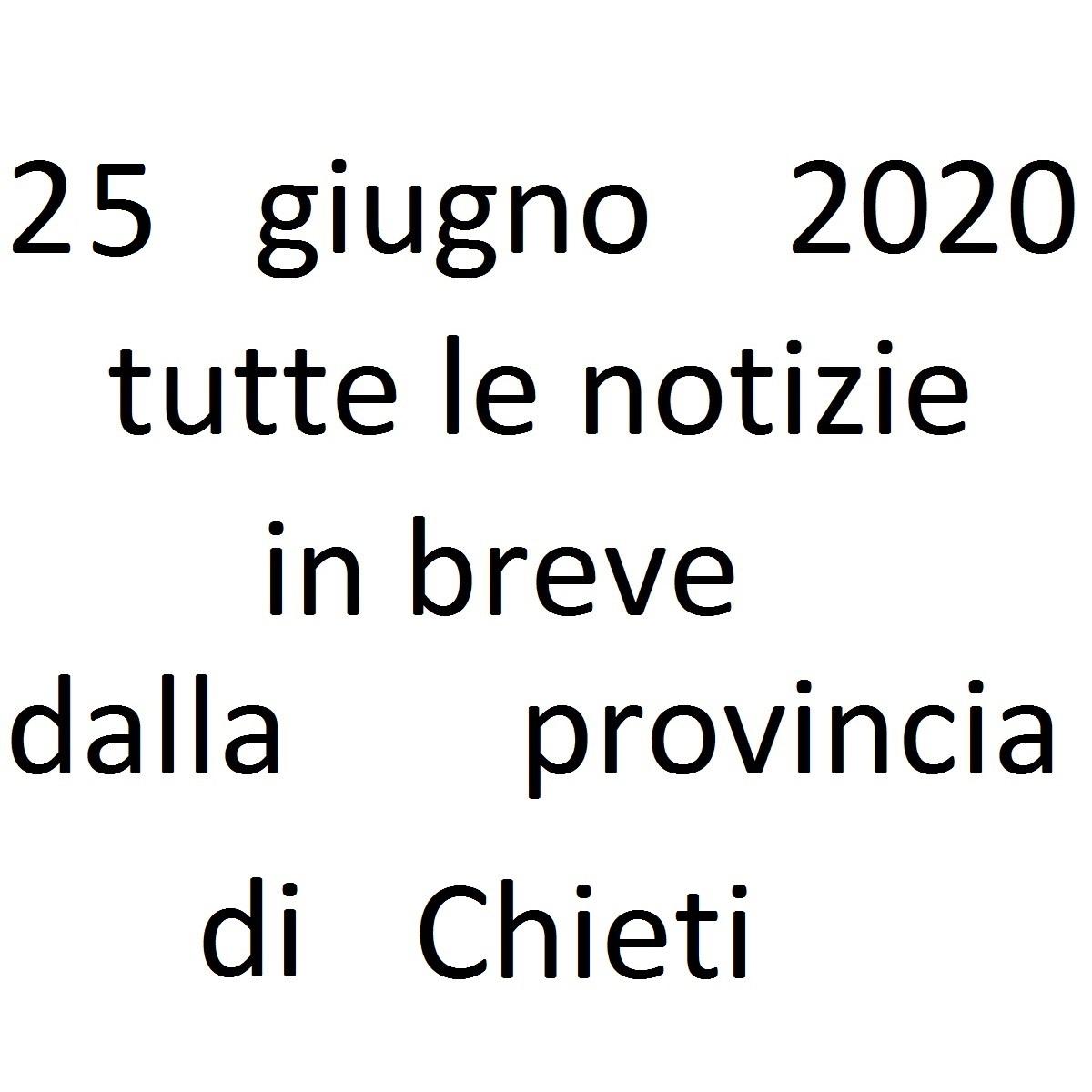 25 giugno 2020 notizie in breve dalla Provincia di Chieti foto