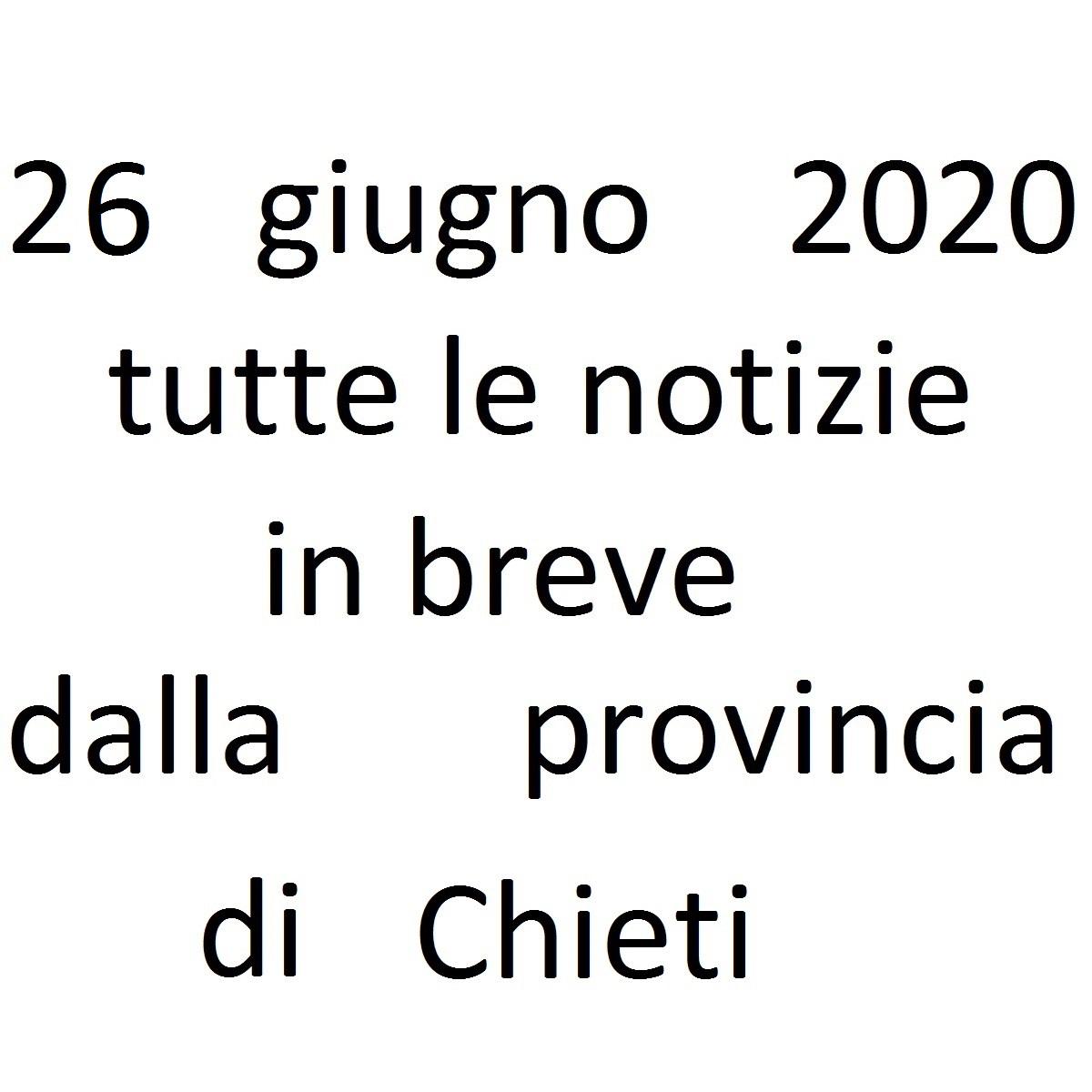 26 giugno 2020 notizie in breve dalla Provincia di Chieti foto