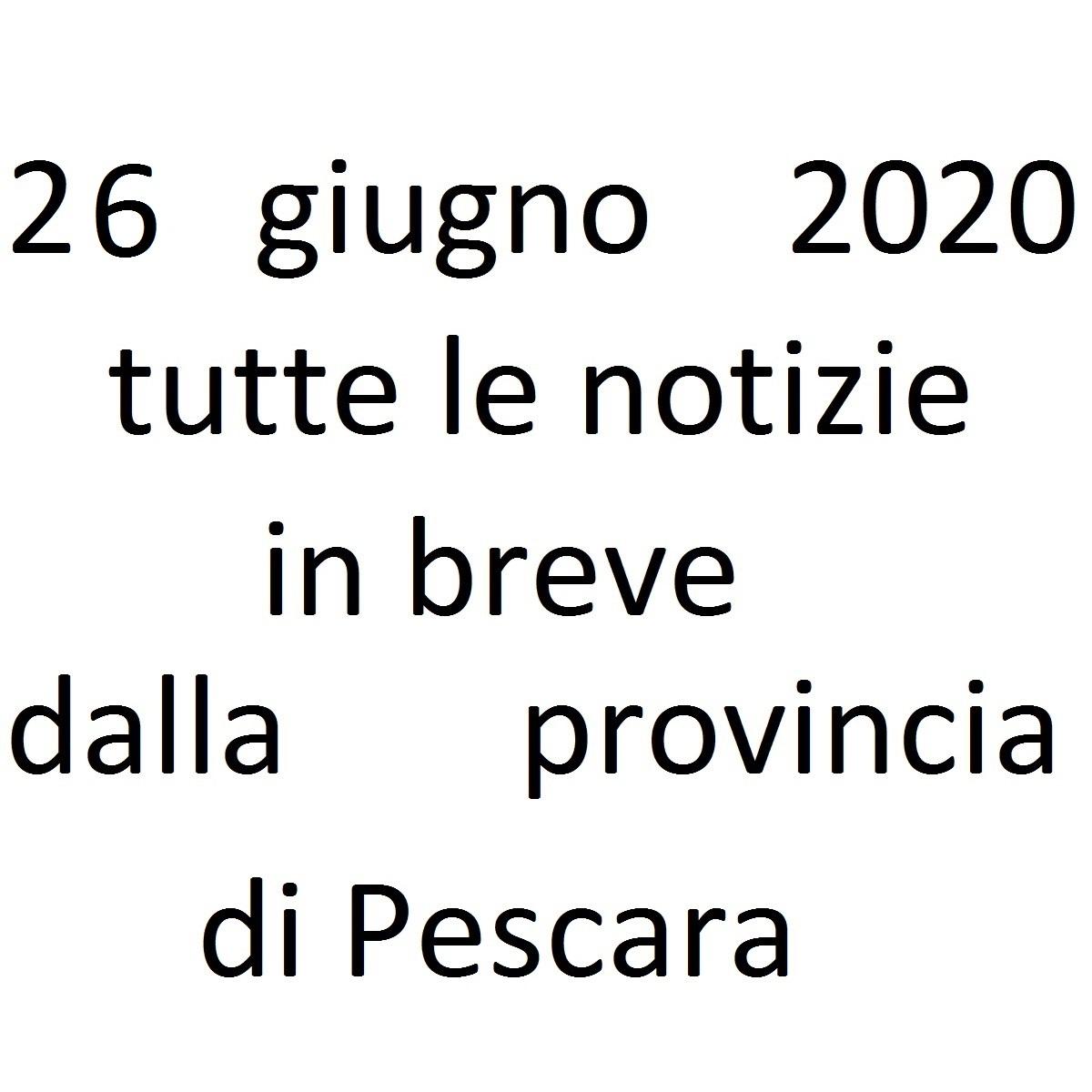 26 giugno 2020 notizie in breve dalla Provincia di Pescara foto