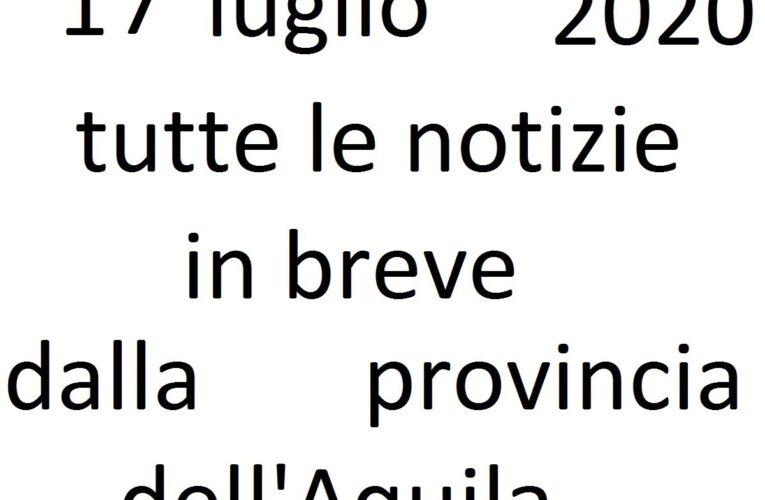 17 luglio 2020 notizie in breve L'Aquila