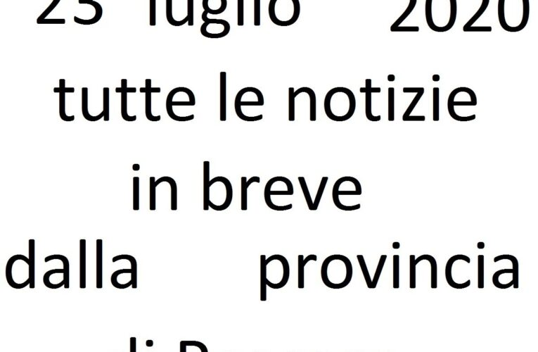 23 luglio 2020 notizie in breve Pescara