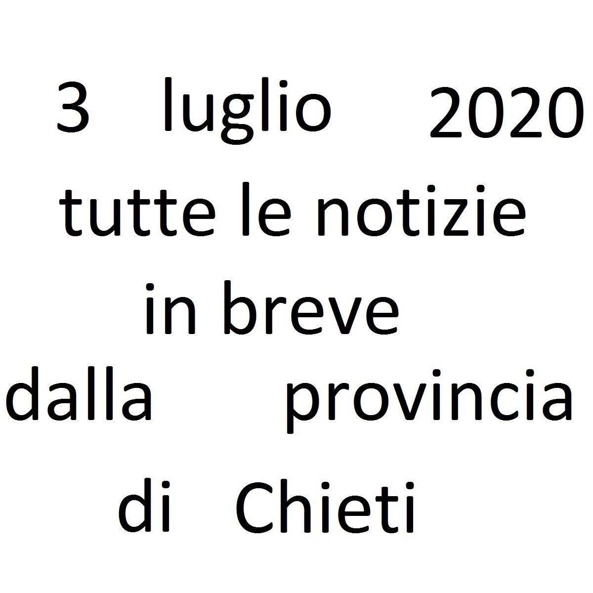 3 luglio 2020 notizie in breve dalla Provincia di Chieti foto