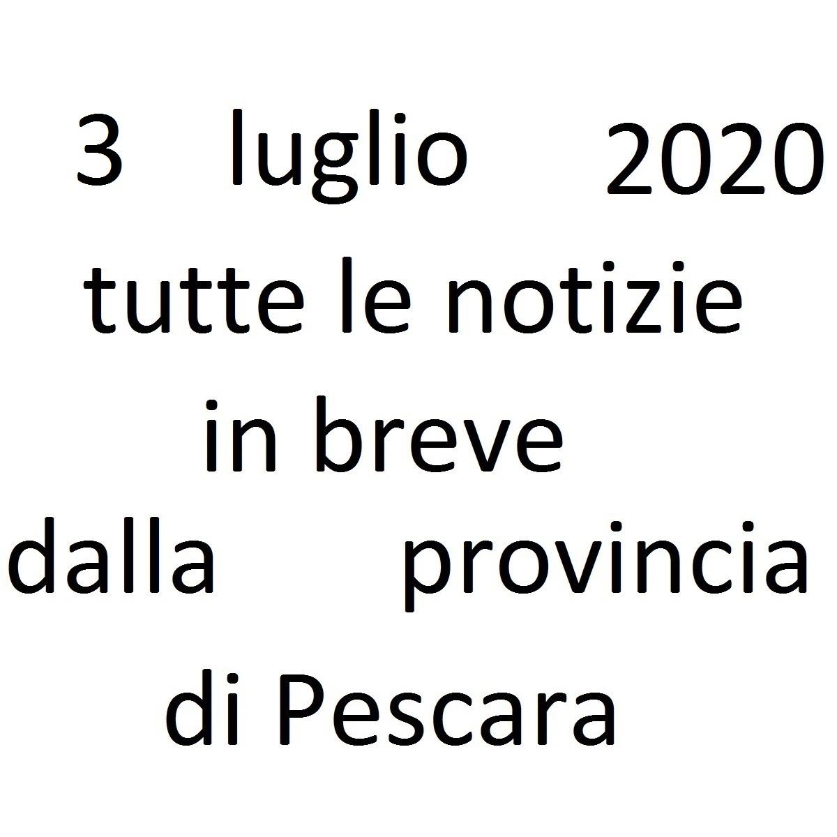 3 luglio 2020 notizie in breve dalla Provincia di Pescara foto