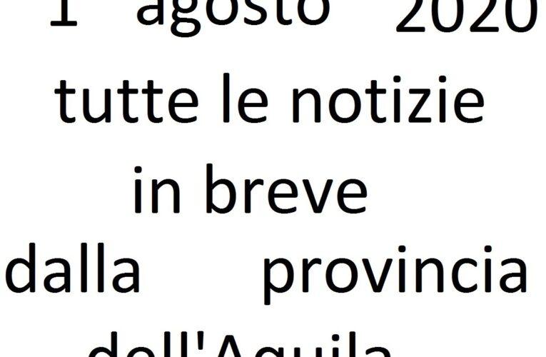 1 agosto 2020 notizie in breve L'Aquila