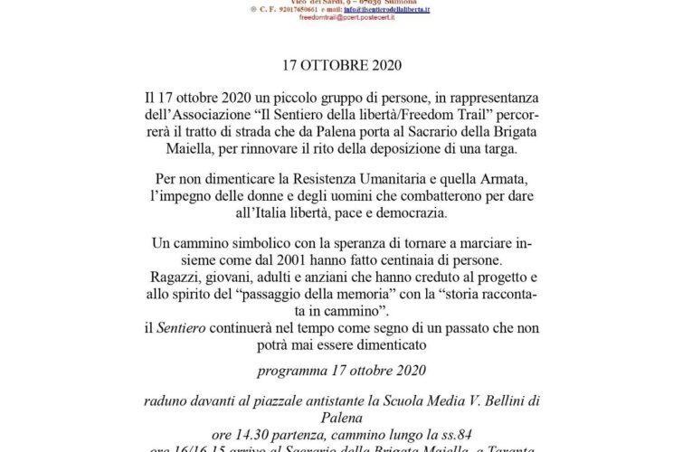 Marcia della Libertà a Palena il 17 ottobre 2020