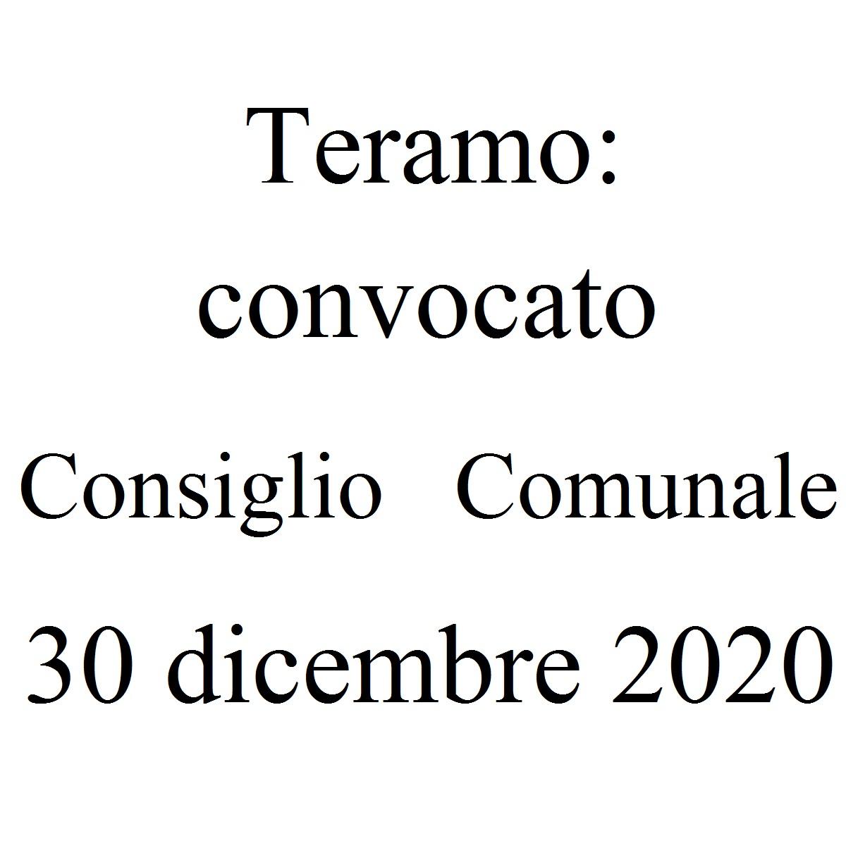Teramo convocato Consiglio Comunale 30 dicembre 2020 foto