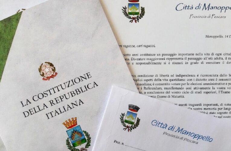 Manoppello: inviate copie della Costituzione ai diciottenni