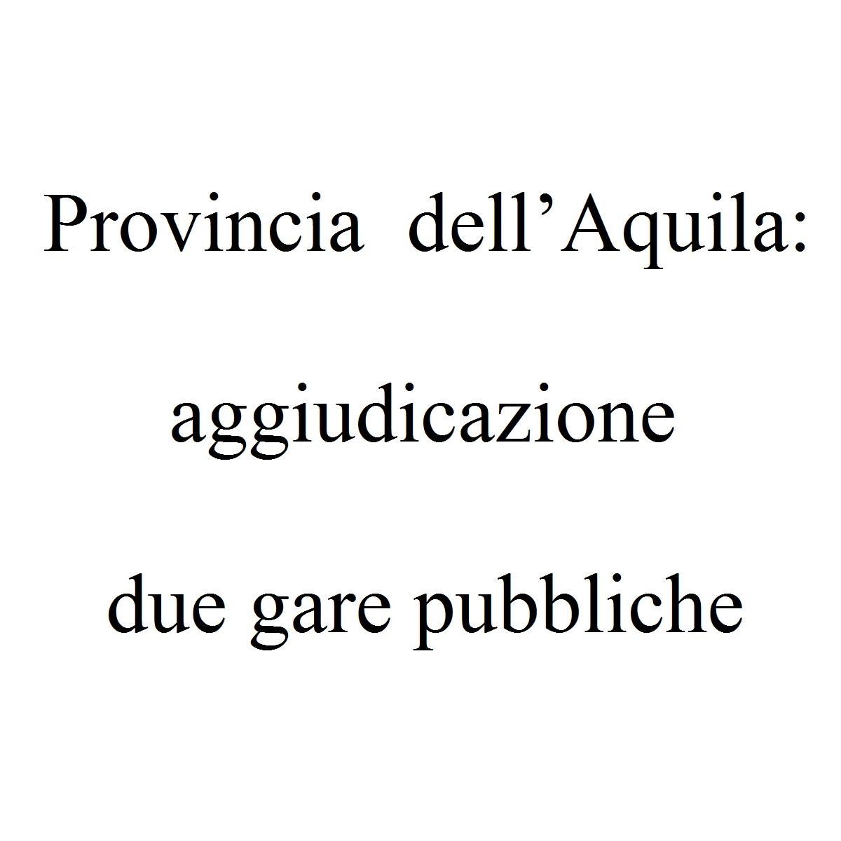 Provincia dell'Aquila aggiudicazione due gare pubbliche foto