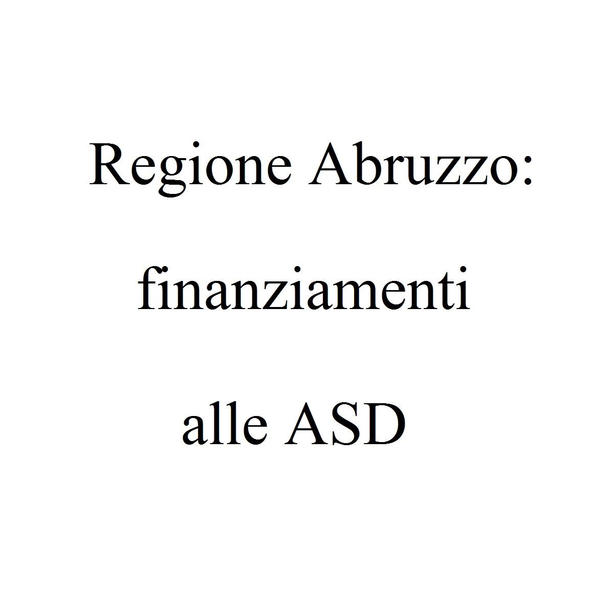 Regione Abruzzo finanziamenti alle ASD foto
