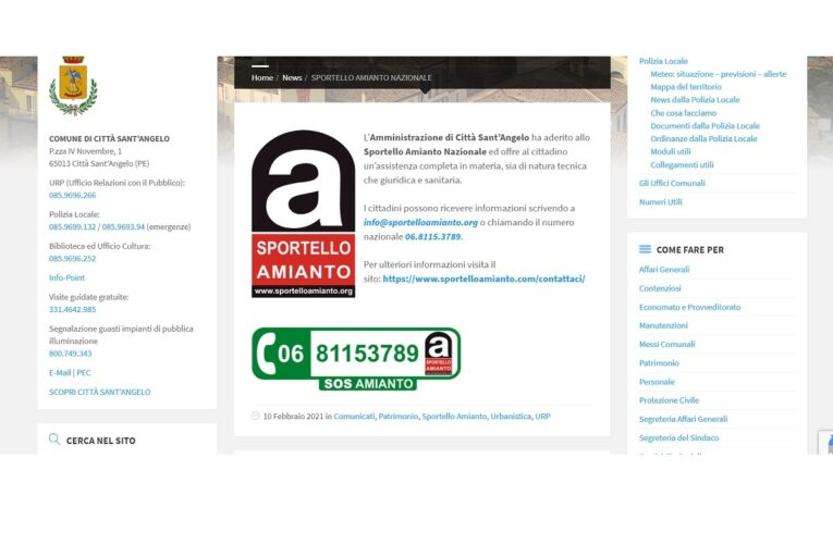 Città Sant'Angelo dichiara guerra all'amianto