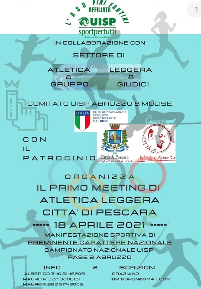 Meeting di Atletica Leggera Città di Pescara 18042021 locandina foto