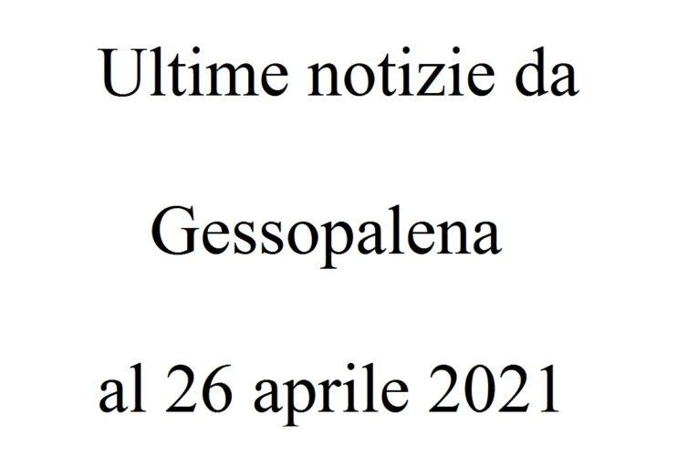 Ultime notizie da Gessopalena al 26 aprile 2021