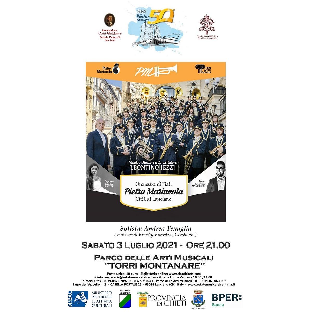 Orchestra di Fiati Pietro Marincola Città di Lanciano 3 luglio 2021 foto