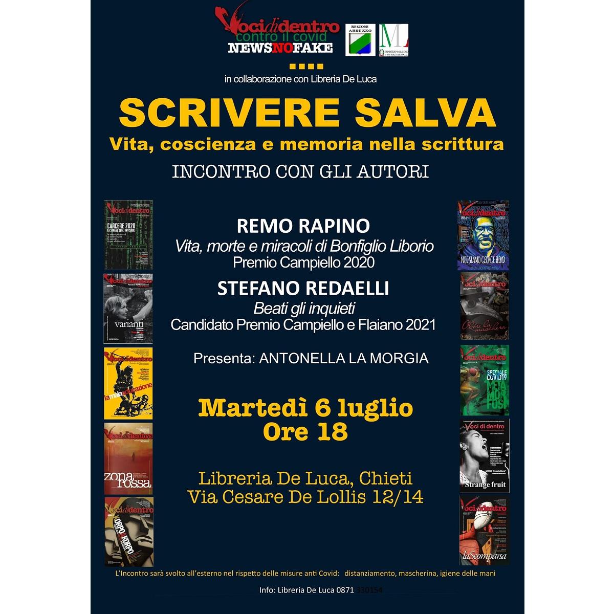 Incontro con Remo Rapino e Stefano Redaelli a Chieti 6 luglio 2021 foto