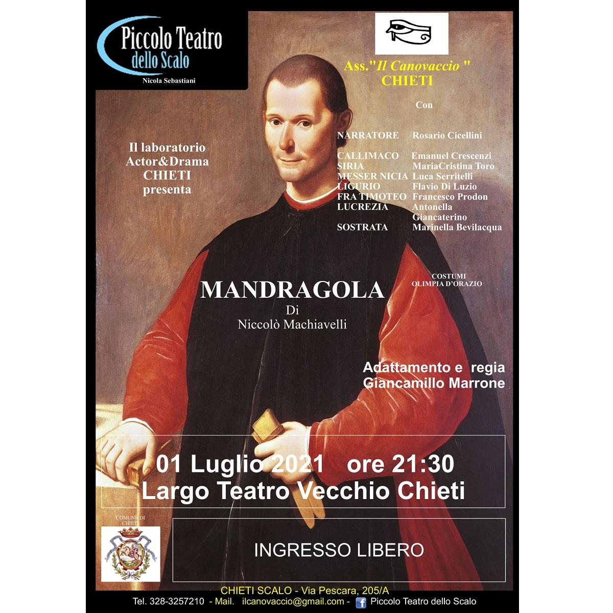 Mandragola di Niccolò Machiavelli a Chieti 1 luglio 2021 foto